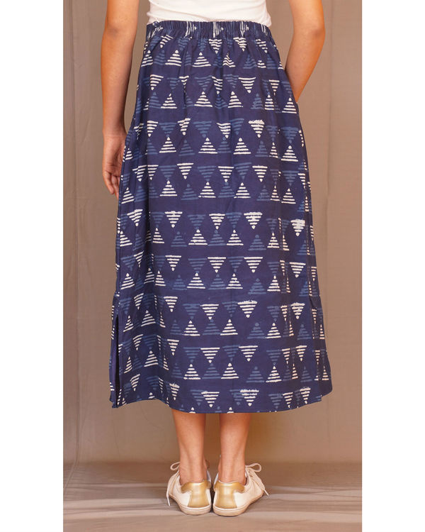 Geometry kantha indigo skirt 1