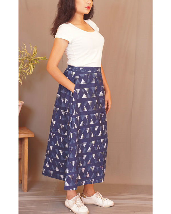 Geometry kantha indigo skirt 2