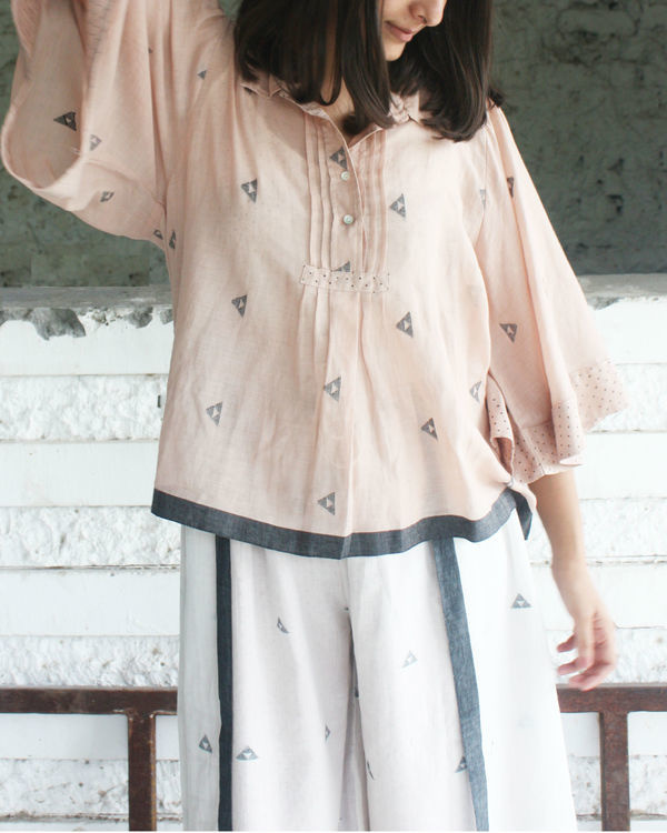 Pink gathered sleeve top 1