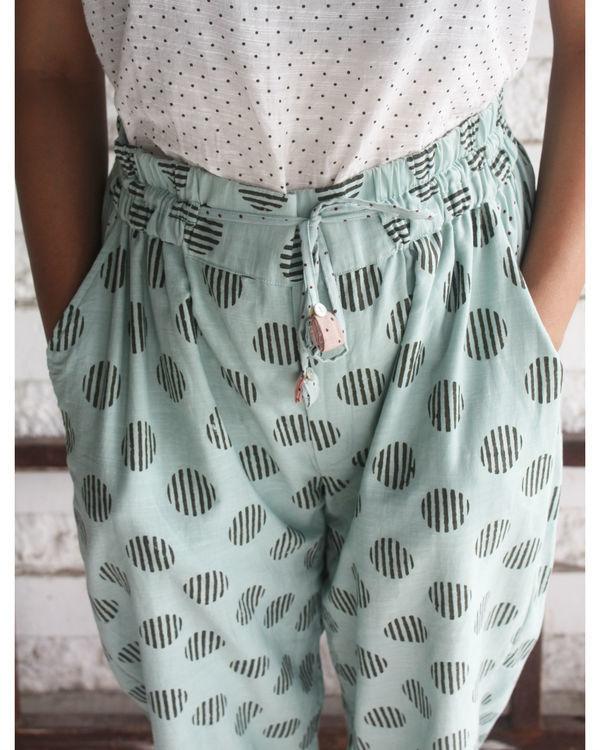 Green big polka pants 1
