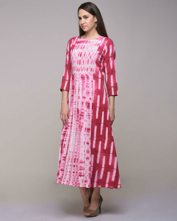 Fuchsia clamp dyed pleated cotton dress 2