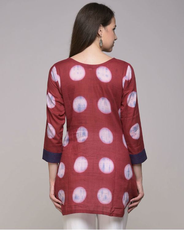 Clamp dyed polka dot embroidered tunic 2