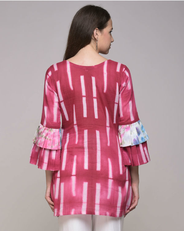 Fuchsia clamp dyed pleated tunic 2