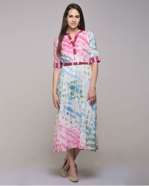 Multi color dress with belt 1