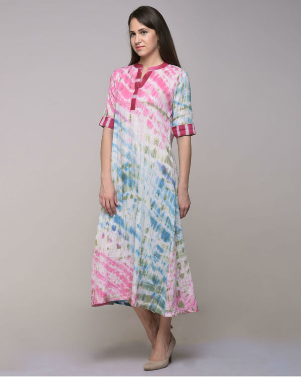Multi color dress with belt 3