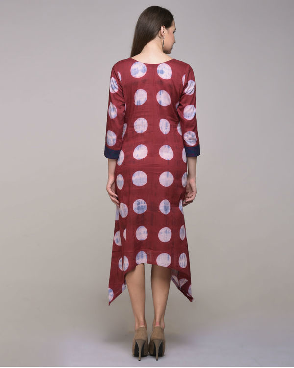Clamp dyed polka dot asymmetrical dress 1