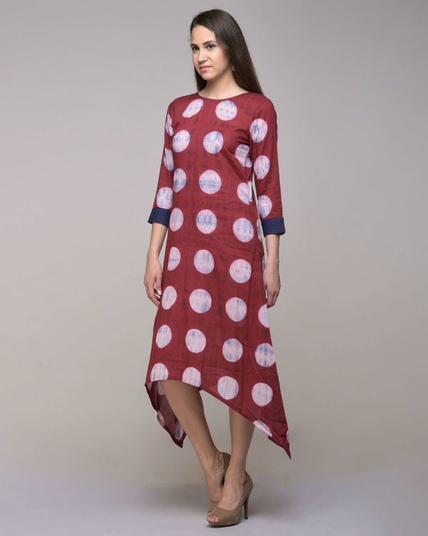 Clamp dyed polka dot asymmetrical dress 2