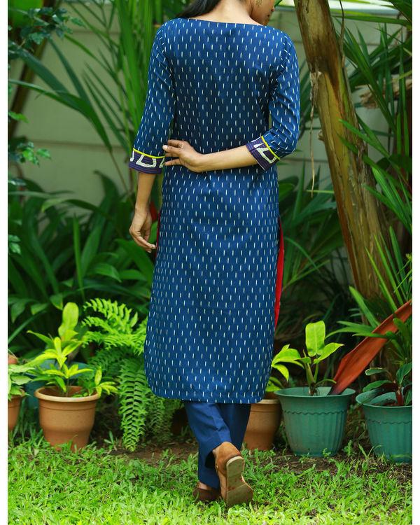 Contemporary indigo blue printed kurta 1