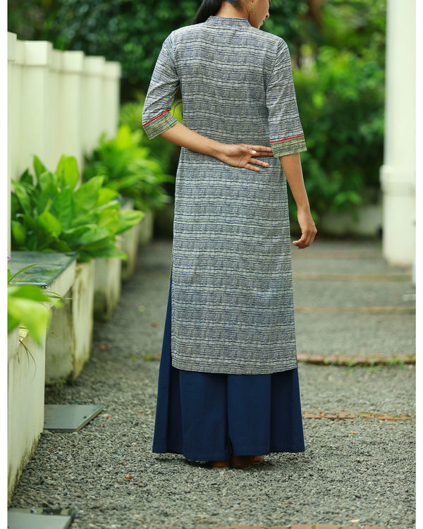 Striped indigo blue printed kurta 1