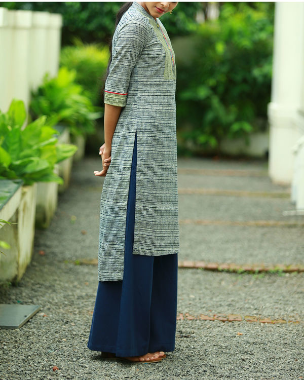 Striped indigo blue printed kurta 2