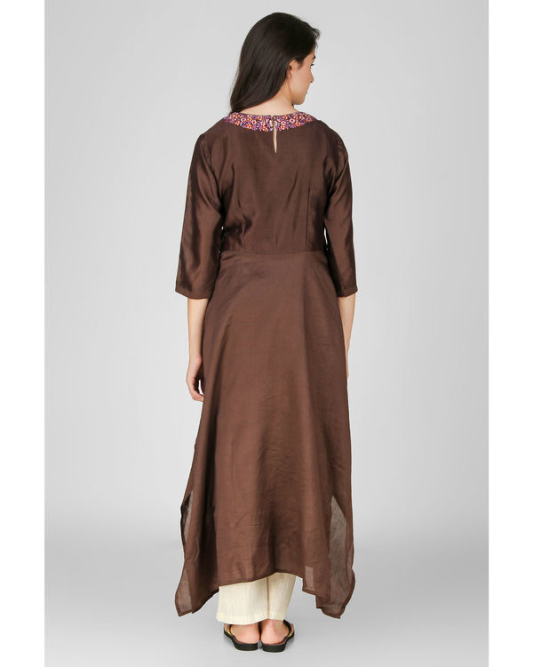 Brown floral embroidered kurta 1