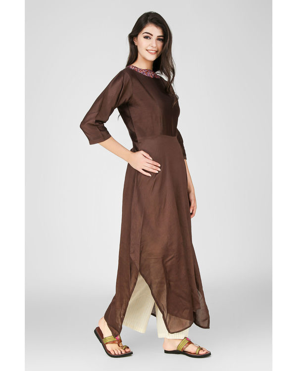 Brown floral embroidered kurta 2