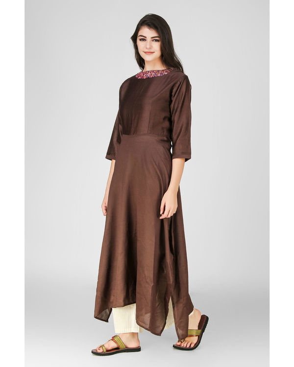 Brown floral embroidered kurta 3
