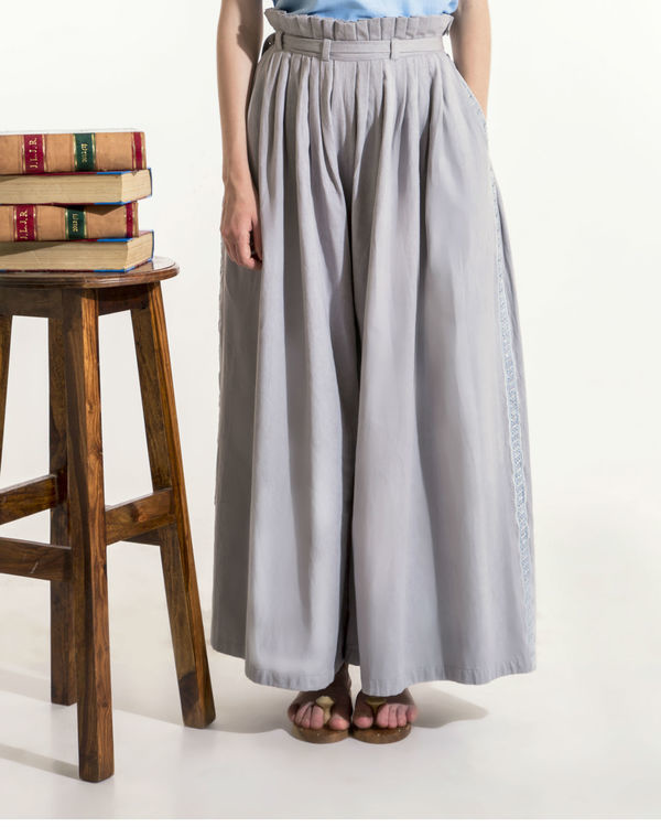 Grey paper bag waist pants 1