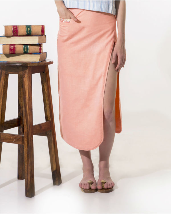 Peach wrap-a-round skirt 1