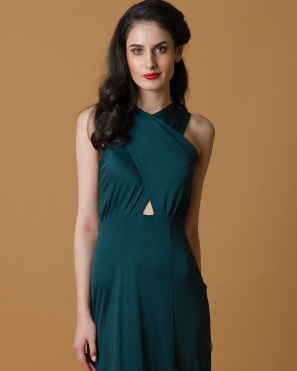 Green criss cross gown 2