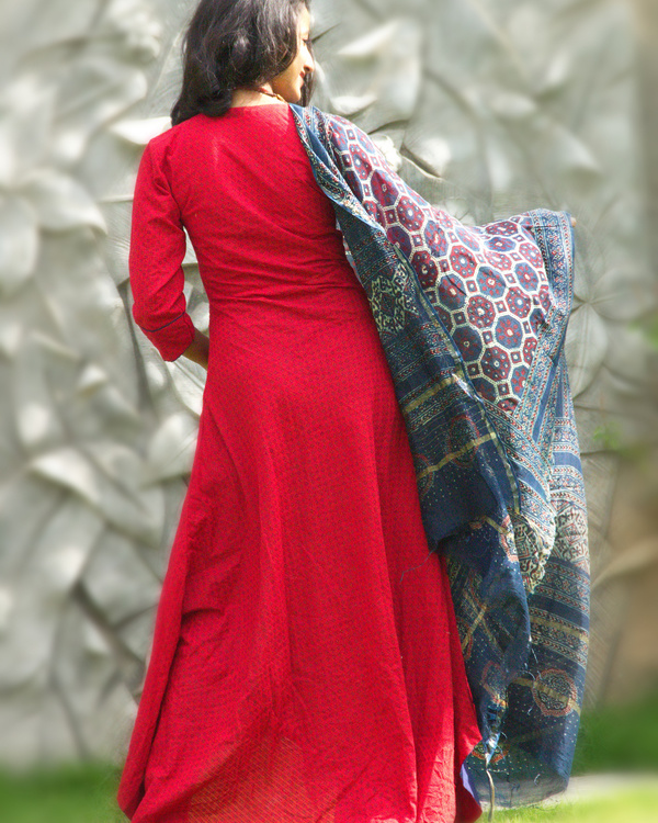 Berry red tunic with dupatta 1