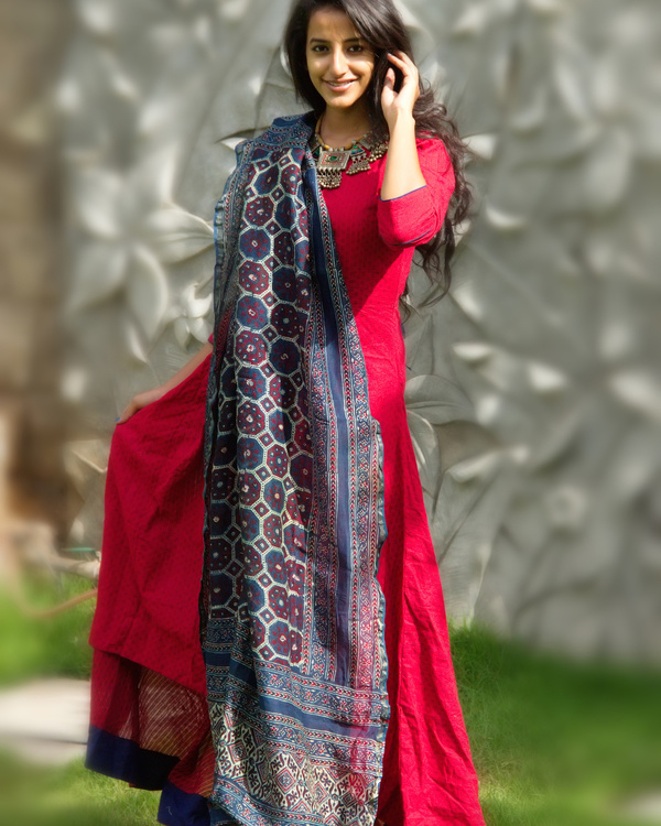 Berry red tunic with dupatta 2