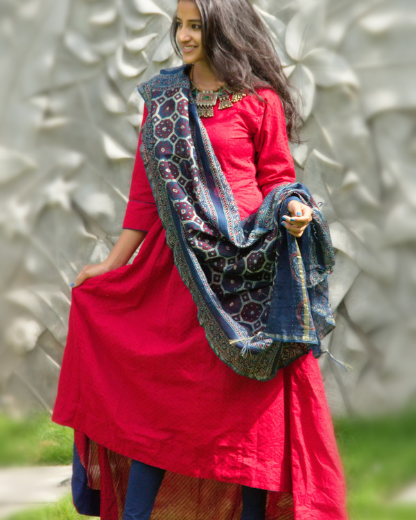 Berry red tunic with dupatta 3