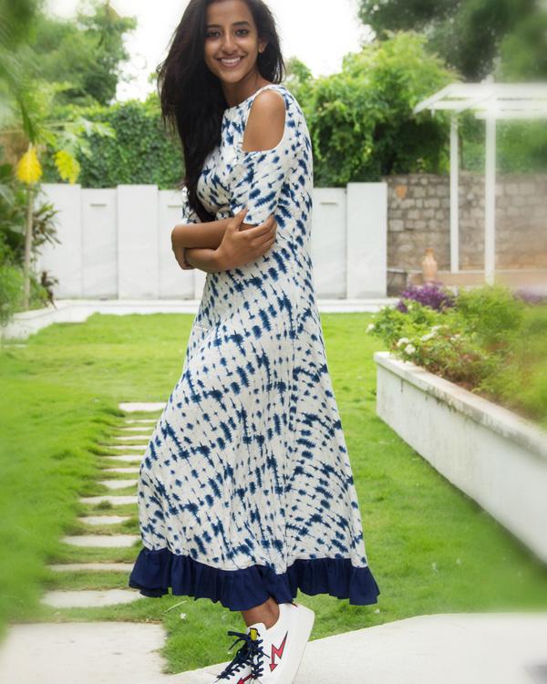 Blue cold shoulder dress 2