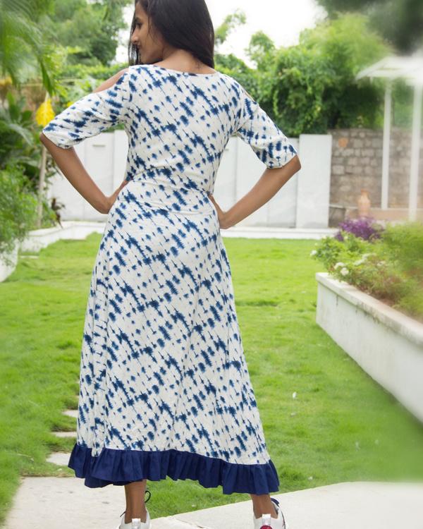 Blue cold shoulder dress 3