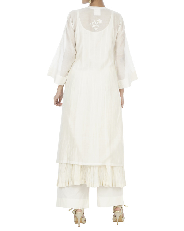 Ecru and peach kurta set 1