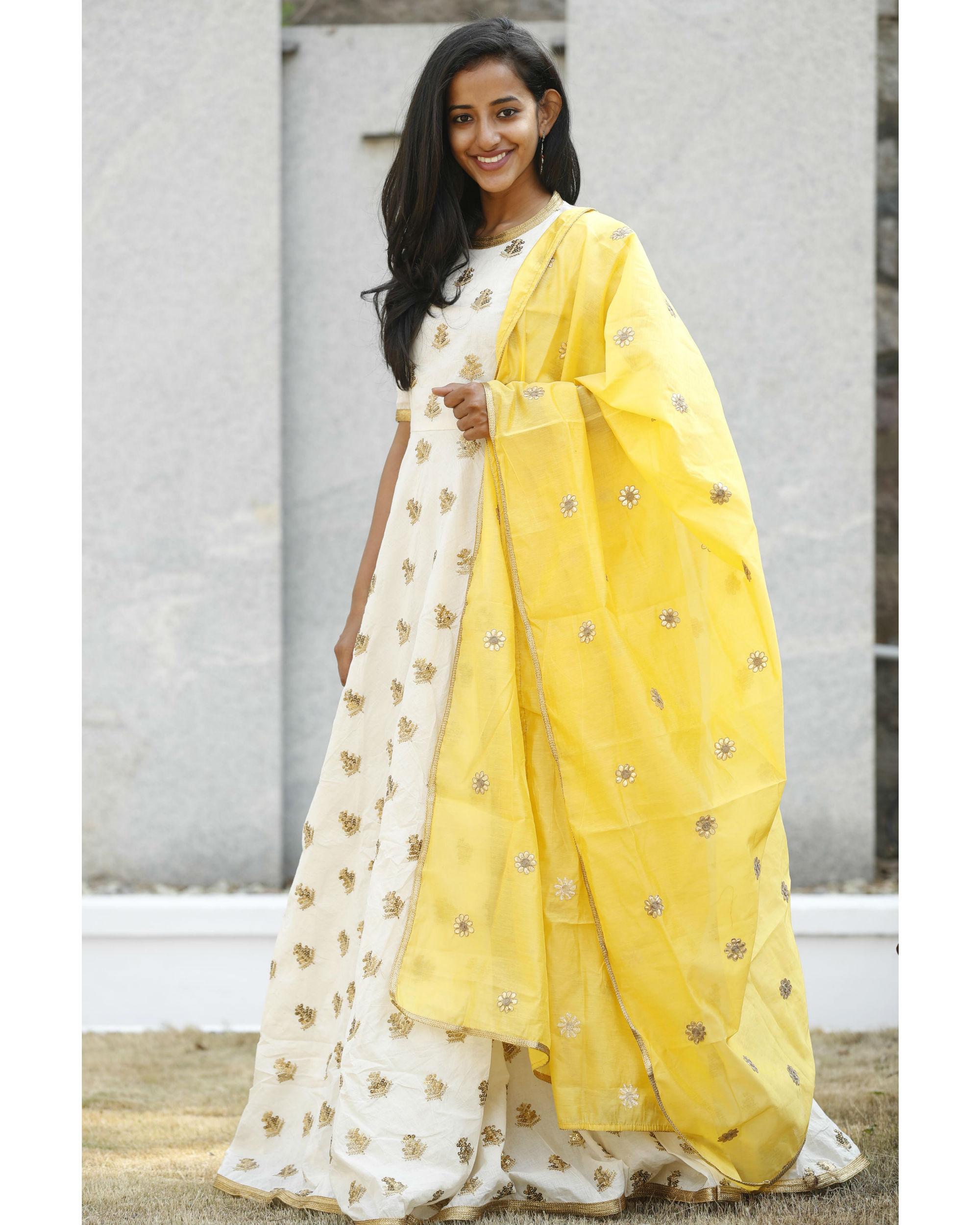 8ae6f80b1c58 Desi gold yellow dress with dupatta by Tie & Dye Tale   The Secret Label