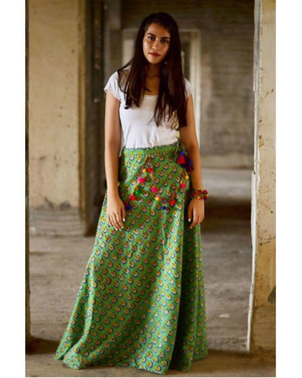 Green flower ghaghra 1