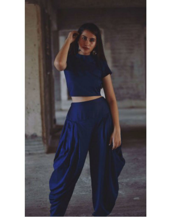Navy blue urban desi set with jacket 2