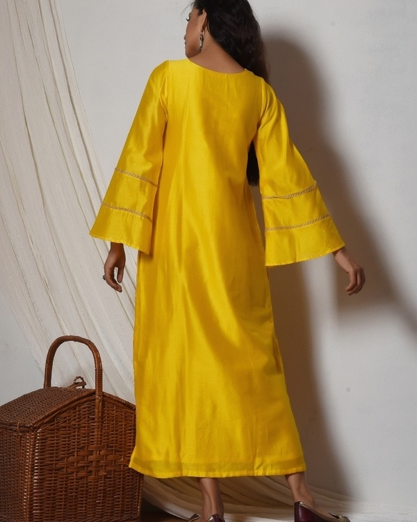 Yellow bell sleeve kurta dress 3