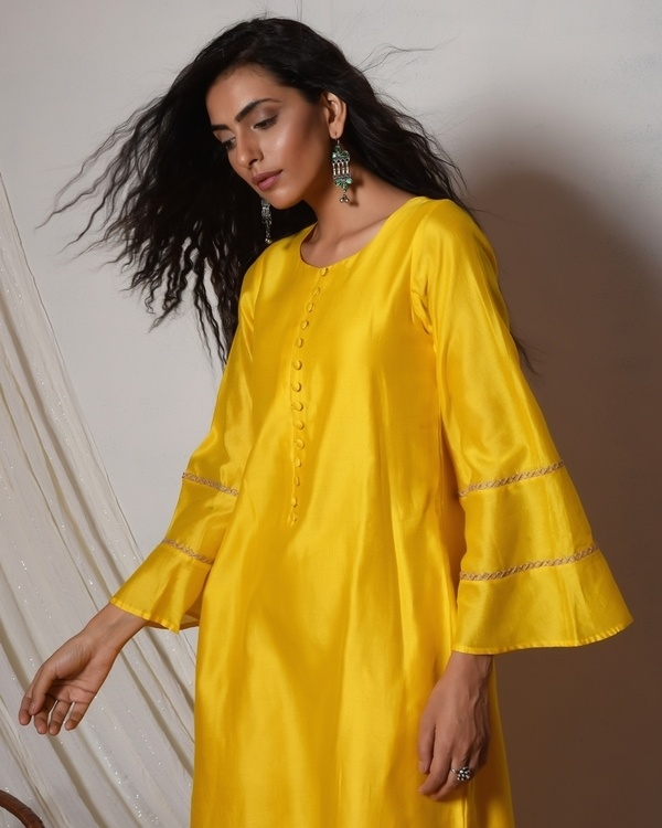 Yellow bell sleeve kurta dress 2
