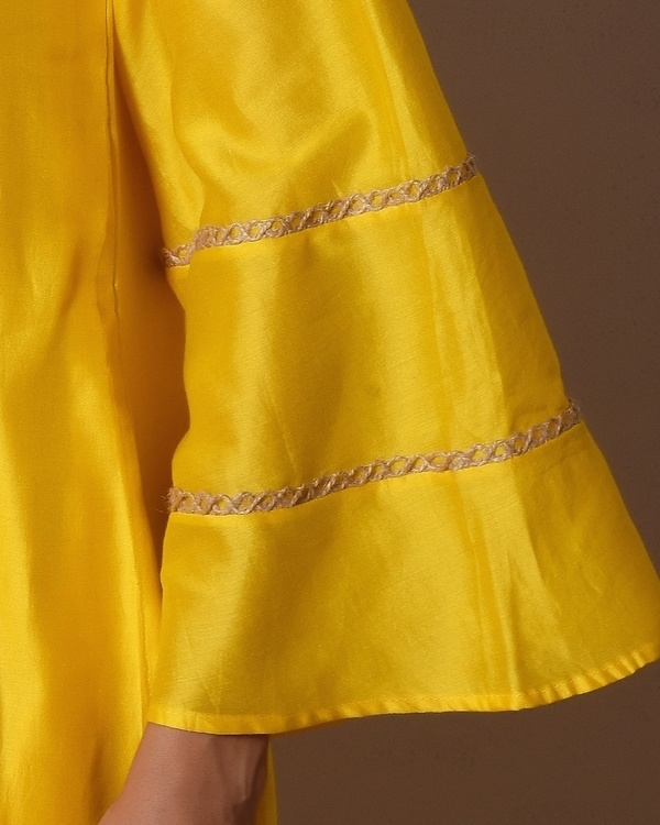 Yellow bell sleeve kurta dress 1