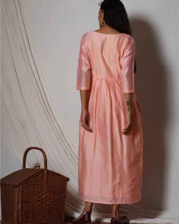 Peach chanderi gathered kurta dress 3