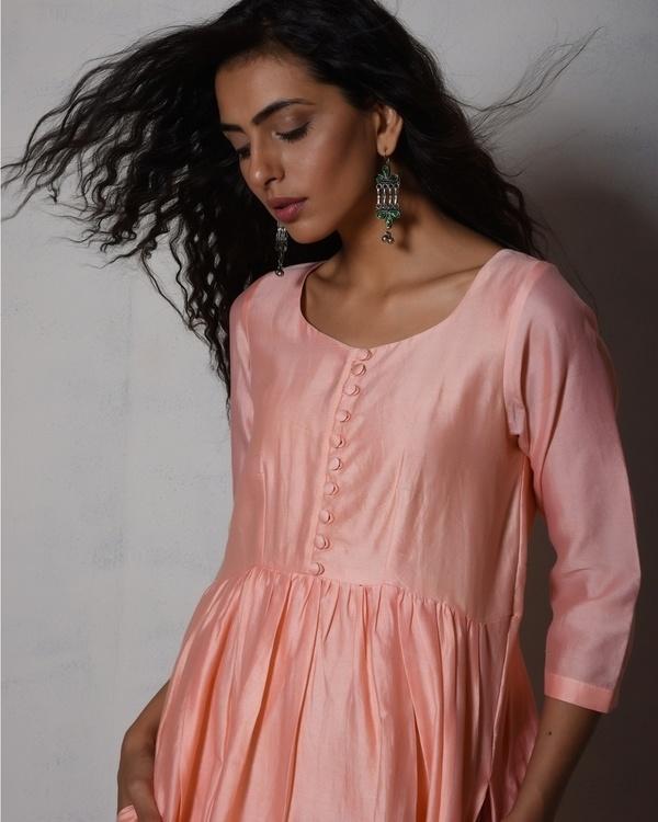 Peach chanderi gathered kurta dress 2