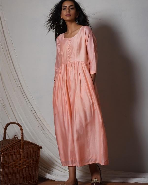 Peach chanderi gathered kurta dress 1