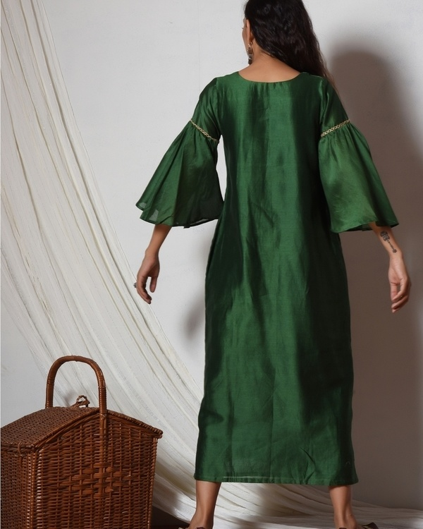 Cocktail green jute kurta dress 3