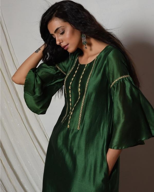 Cocktail green jute kurta dress 2