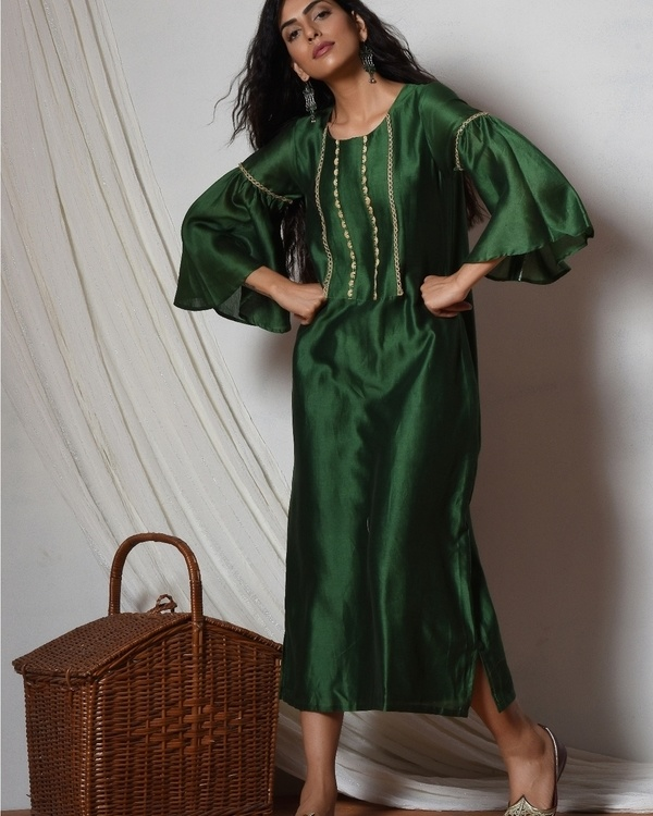 Cocktail green jute kurta dress 1