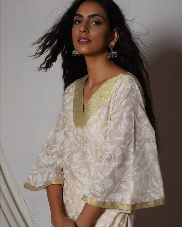 Beige floral kurta with ivory golden gota farshi pant 2