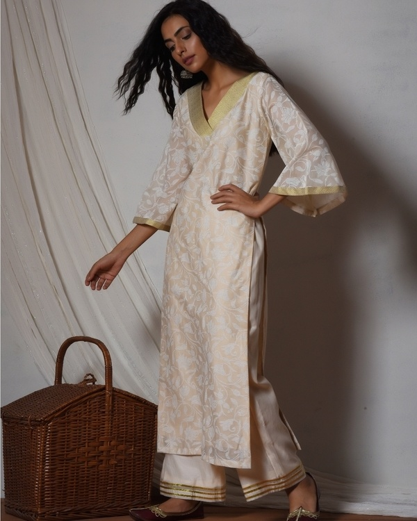 Beige floral kurta with ivory golden gota farshi pant 1