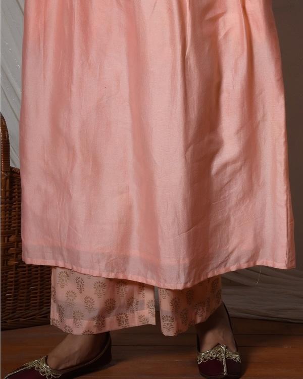 Peach gathered kurta with floral farshi pant 2