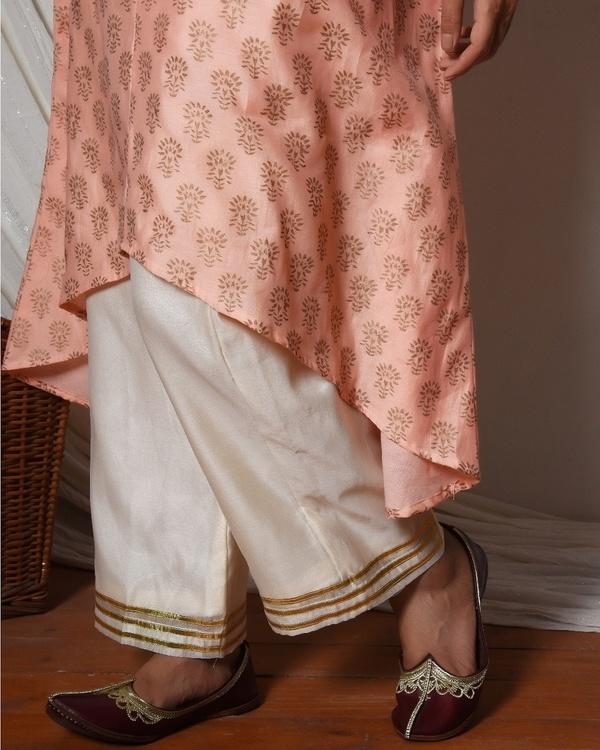 Peach floral kurta with ivory golden gota farshi pant 2