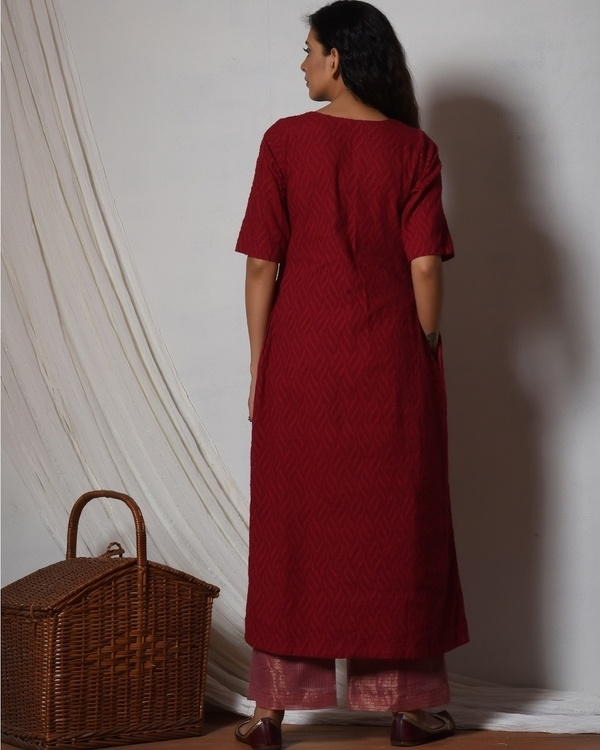 Red kurta with kota silk farshi pant 3