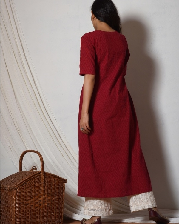 Red kurta with ivory thread work farshi pant 3