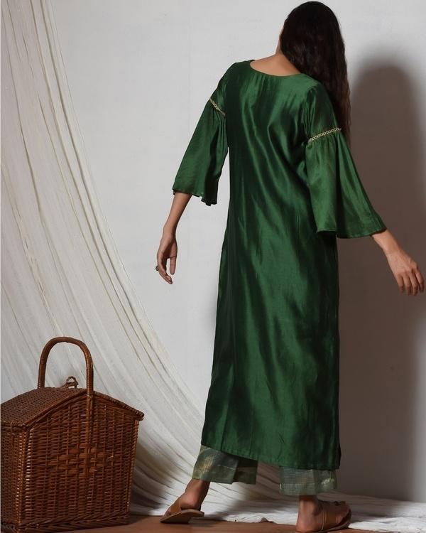 Cocktail green jute kurta with kota silk farshi pant 3