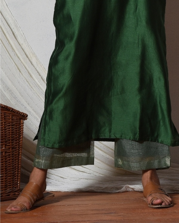 Cocktail green jute kurta with kota silk farshi pant 2