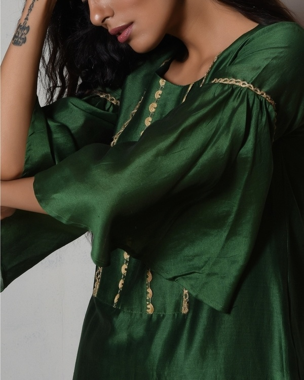 Cocktail green jute kurta with kota silk farshi pant 1