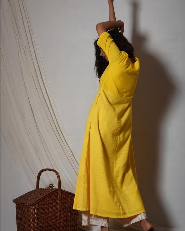 Yellow stripe kurta with ivory thread work farshi pant 3