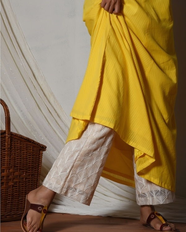 Yellow stripe kurta with ivory thread work farshi pant 2