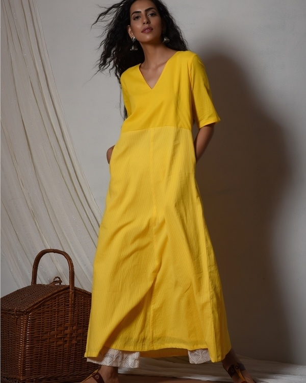 Yellow stripe kurta with ivory thread work farshi pant 1